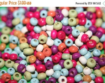SUMMER SALE Small Rainbow Color Wood Beads -3mm - 350 pcs