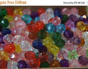 FALL CLEARANCE CLOSEOUT Sale - Assorted Faceted Round Acrylic Beads - 6mm - 100 pcs