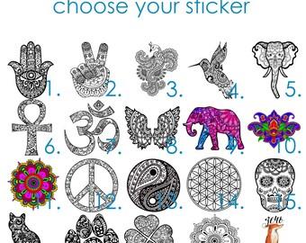 Weatherproof Vinyl Sticker - Shamrock - Four Leaf Clover - Henna Peace Hand, Unique, Fun Sticker for Car, Luggage, Laptop - Artstudio54