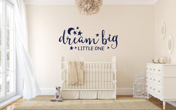 Dream Big Little One Monogram Wall Decal - Vinyl Wall Sticker Decal Indoor Decor Decoration - White, Black, Blue, Gold, - artstudio54