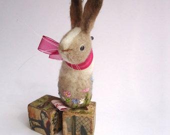 Original Handmade Needle Felted Coffee Dutch Bunny Pin Cushion