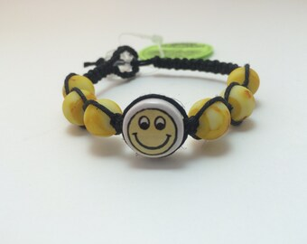 Smiley Face Macrame Hemp Bracelet (0185)