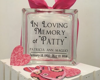 Funeral Guest Book Message Block- Glass  - Personalized - Paper Hearts in Coordinating Colors - Funeral Home - Wake - Memories - Keepsake