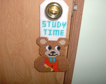 Study Time Bear Door Hanging, Needlepoint Study Time Bear Door Knob Hanging, Teacher's or Parent's Aid for Study Time