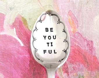Be•you•ti•ful vintage silver teaspoon. Hand stamped boho dreamers gift. Scalloped edging tea lovers delight. Non toxic