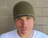 men's winter beanie/ olive drab wool n' hemp crochet
