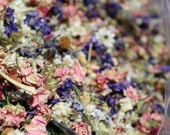 Larkspur flower confetti-Natural dried ammobium-Assorted flower potpourri-1 cup of flower girl basket petals-Candle supplies-Soap supplies