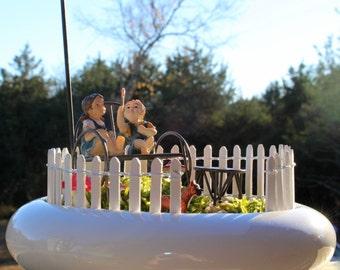SALE:Live Pillow Moss terrarium-Small secret garden-Spotted red mushrooms-Boxer dog-White picket fence-Bird house-Rock Path