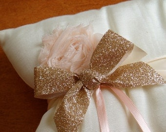 Wedding Ring Bearer Pillow, Ring Holder - Champagne, Ivory, and Blush - READY TO SHIP