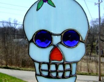 Sugar Skull Stained Glass Day of the Dead El Dia de los Muertos Mexican Suncatcher Spanish Fiesta Mexicana Cinco de Mayo Original Design©