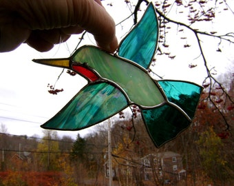 Stained Glass Hummingbird Ruby Throated Mothers Day Birds Tree Ornament Yule Pagan Solstice Handmade in Canada Eastern Gothic Glass Studio