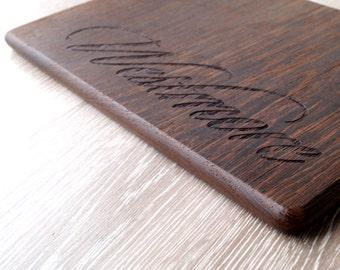 Personalized cutting board, luxury wenge cutting board, custom laser engraved dark wood serving board, breakfast, chopping, cheese board