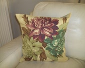 Retro Floral Barkcloth Pillow Cover 18 x 18