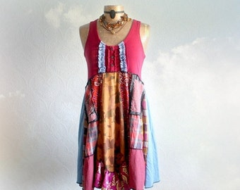 Upcycled Tunic Dress Boho Fashion Country Clothes Mixed Fabrics Lagenlook Sundress Festival Dress Rustic Clothing Patchwork Dress M 'DARBY'