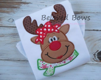 Applique Christmas Reindeer with Bow Ruffle Shirt for Girl---Personalized--Christmas Shirt--First Christmas