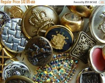 BIG SALE 2 Dozen Antique Metal Vintage Rhinestone Crown Mixed Buttons Lot N0 150