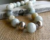 Chunky Stone Aquamarine Statement Necklace, Big Bold Stone, Blue Gemstone Necklace