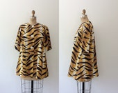 60s beachwear / animal print cover up / Tiger Terry cloth beach jacket