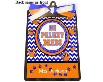 Teacher Gift Personalized Clipboard Customized with School Colors, Name and Mascots Paws Bears, Lions, Tigers, Bulldogs, Panthers, Tigers