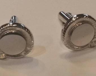 Vintage silver tone cufflinks, clear stone