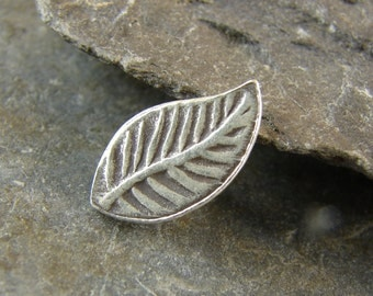 Tiny Leaf Button - Hill Tribe Fine Silver - Perfect For Leather Wrap Bracelets - htbtl