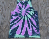 Pink & Mint on Black Spiral Tie Dye Tank Top (Gildan Ultra Cotton Tank Size L)(One of a Kind)