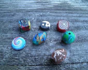 Seven Assorted Polymer Clay Beads (Handmade) (One of a Kind)