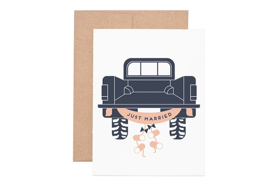 Just Married Letterpress Greeting Card - Wedding Card   Congratulations   Congrats   Greeting Cards   Letterpress Cards