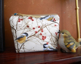 Make Up Bag Chickadee Birds, Coin Bag, Storage Bag, Cell Phone Pouch, Wallet, Wristlet