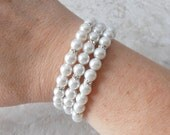White Pearl Memory Wire Bracelet Bridal Bracelet Bride Jewelry Beaded Wire Triple Strand Chunky Bracelet Bridal Gift White Wedding Jewelry