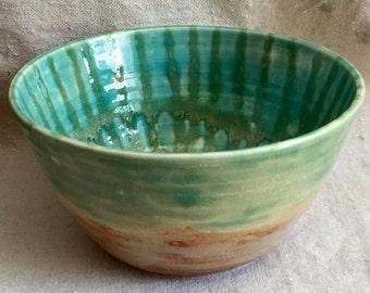 Ceramic bowls, pair, contrmporary glaze application, greens and cinnamon colors.
