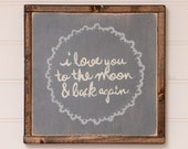 """Hand Painted Wood Sign - I love you to the Moon - 13""""x13"""" - Home - Custom - Distressed - Home Decor - Annie Sloan Chalk Paint"""