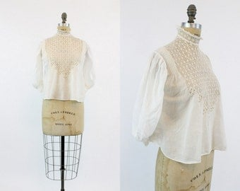 1910 Edwardian Blouse Small / 1910 Antique Lace Balloon Sleeve Top / Snowflake Blouse
