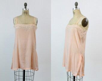 1930s Vintage Slip Dress Medium  / 30s Silk Lace Lingerie Camisole /  Dessert Parfait Slip Nightgown