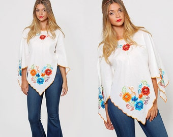 Vintage 70s EMBROIDERED Boho Top White BUTTERFLY Top Hippie Peasant Top FESTIVAL Tunic