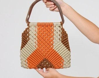 SALE Vintage 70s MACRAMÉ Handbag WOVEN Handbag with Lucite Handles Boho Bag Sunset Hippie Bag