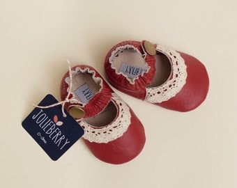 LUCY Baby Girl Shoes in red genuine leather