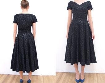 Vintage Full Circle Skirt 50s Black Tonal Party Dress XS/S // 1950s drop waist Metallic sheen // side metal zipper extra small