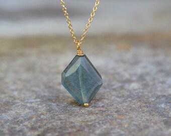 Moss Aquamarine Necklace March Birthstone