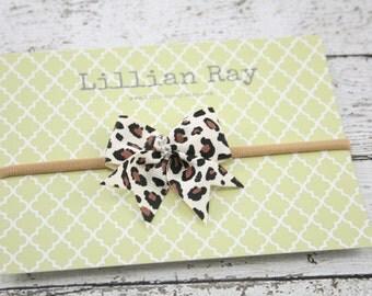 Leopard Print Bow Nylon Headband