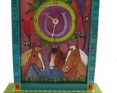 UNIQUE HORSE CLOCK, gifts for horse lovers, horses, Ready to Ship, fun clock, whimsical clock, horse lovers clock, blue clock, clock