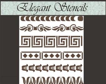 Stencil Furniture Stencil Borders 3, Furniture stencil, Wall Stencil, Wall Decor, Decorative Stencil, Scrapbook Stencil