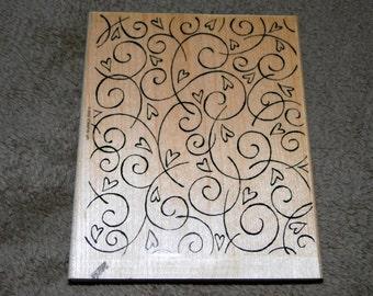 Stampin Up Large Wood Background Stamp Soft Swirls