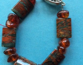 Ocean Jasper and Amber Gemstone Bracelet with Sterling Silver Box Clasp Natural Brown Earth Tones