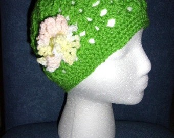Women's Crochet Winter or Chemo Hat.. Cheery Green