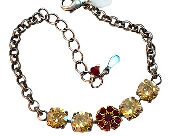 Swarovski Elements Crystal Bracelet, Golden Shadow Chaton Crystal Bracelet,  Siam Red Flower Tennis Bracelet,