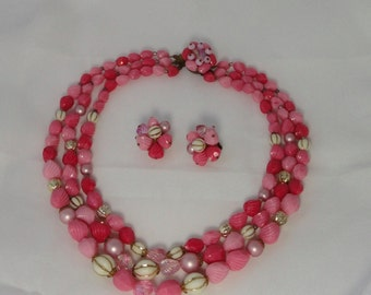 Mid Century Pink Lucite Multi Strands Necklace/Earrings Set. W. Germany