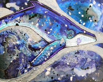 Original Humpback Whale Painting by Lynnette Shelley