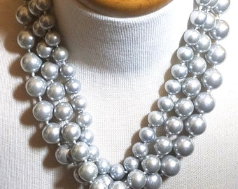 Silver Colored Triple Strand Faux Pearls Vintage Necklace