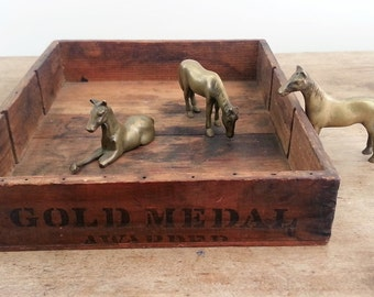 Herd of Brass Horses, Vintage Gold Figurines